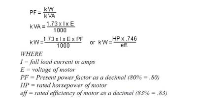Capacitor sizing for power factor correction electrical for Generator sizing for motors