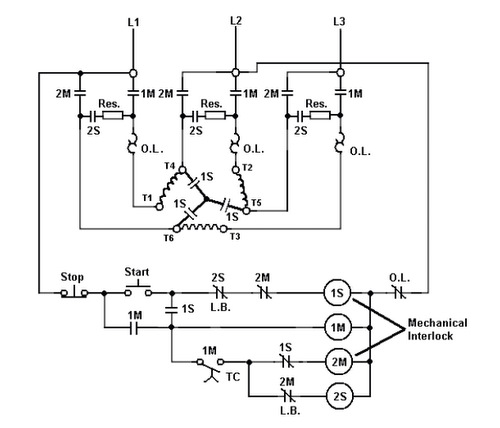 star delta motor control circuit diagram